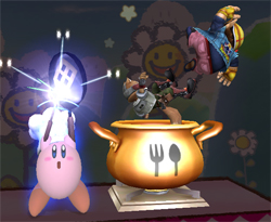Koch Kirby holt Wario und Fox McCloud in den Kessel in Super Smash Bros. Brawl.